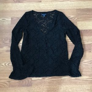 Black Lace Ruffle Long Sleeve Top